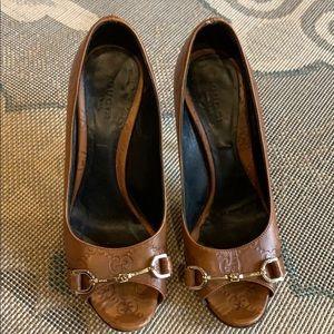 Gucci   Guccissima Brown Leather Peep Toe Horsebit